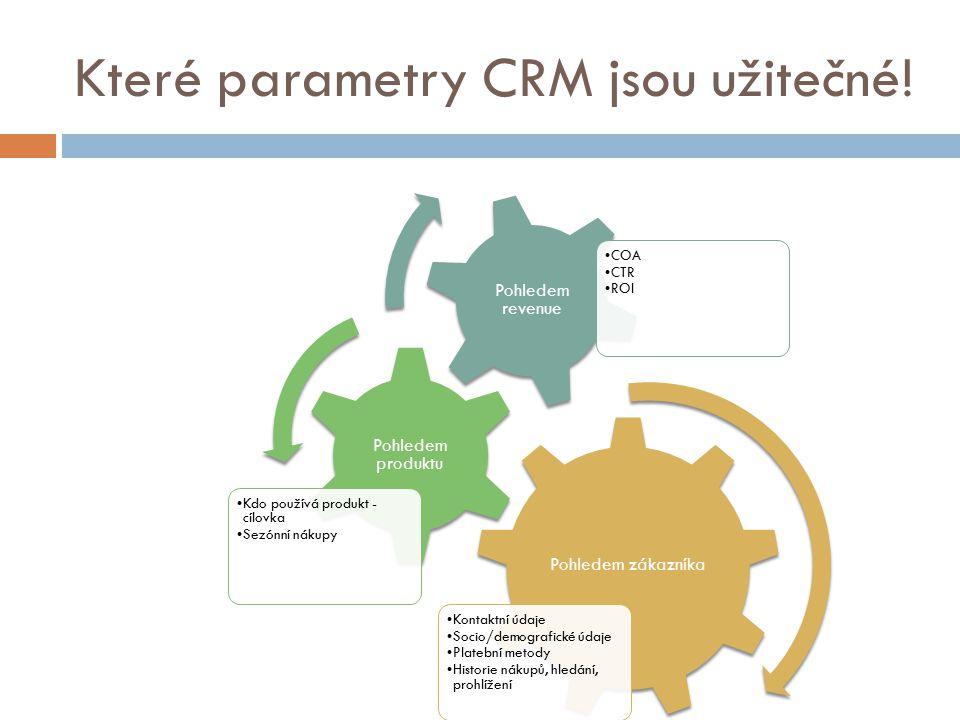 Které parametry CRM jsou užitečné! Pohledem zákazníka Kontaktní údaje Socio/demografické údaje Platební metody Historie nákupů, hledání, prohlížení Po