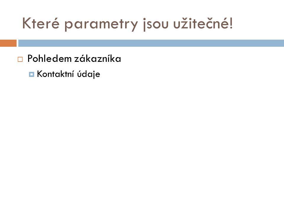 Které parametry jsou užitečné!  Pohledem zákazníka  Kontaktní údaje
