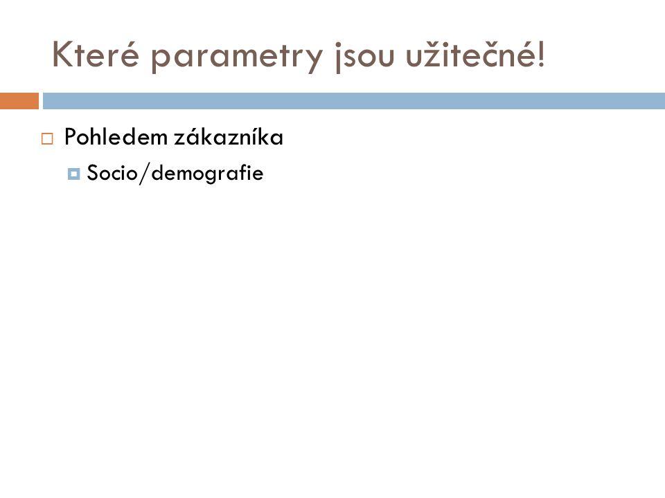 Které parametry jsou užitečné!  Pohledem zákazníka  Socio/demografie