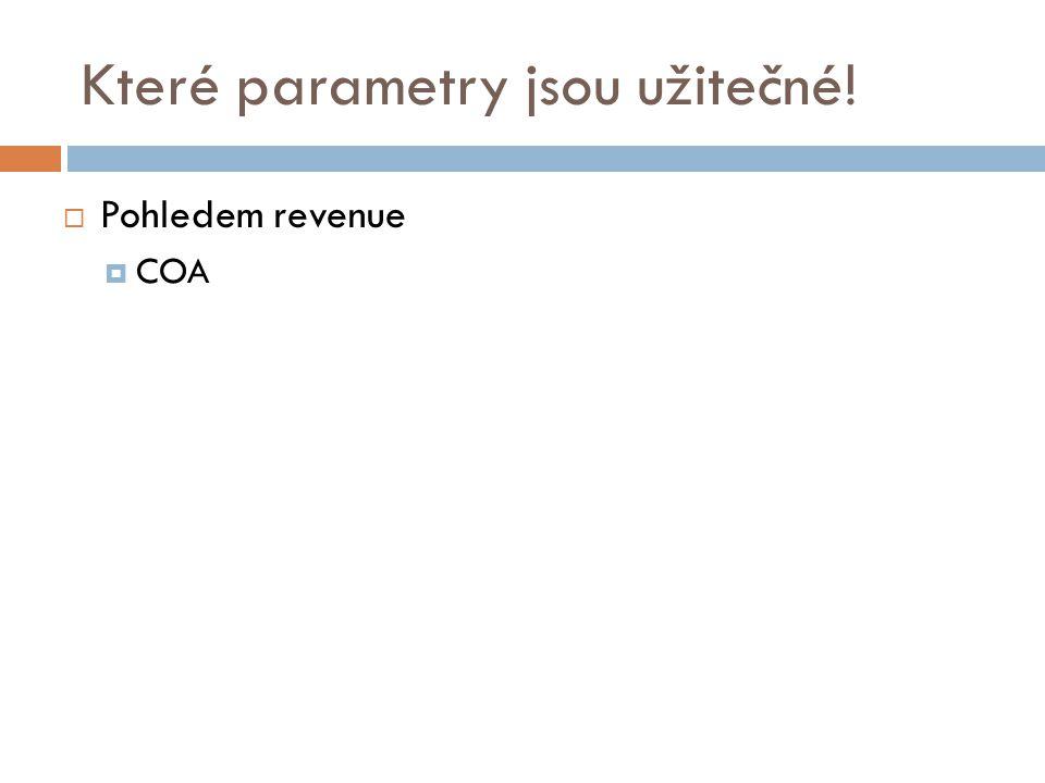 Které parametry jsou užitečné!  Pohledem revenue  COA