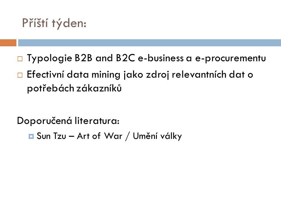 Příští týden:  Typologie B2B and B2C e-business a e-procurementu  Efectivní data mining jako zdroj relevantních dat o potřebách zákazníků Doporučená