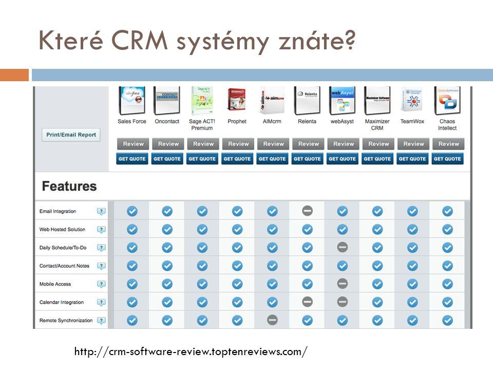 Které CRM systémy znáte? http://crm-software-review.toptenreviews.com/