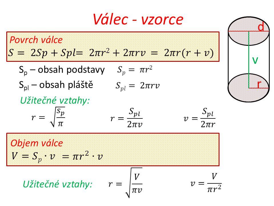 Válec - objem v = 7 cm r = 3cm Příklad 1: Vypočítej objem válce, jestliže poloměr podstavy r = 3 cm a výška válce v = 7 cm.