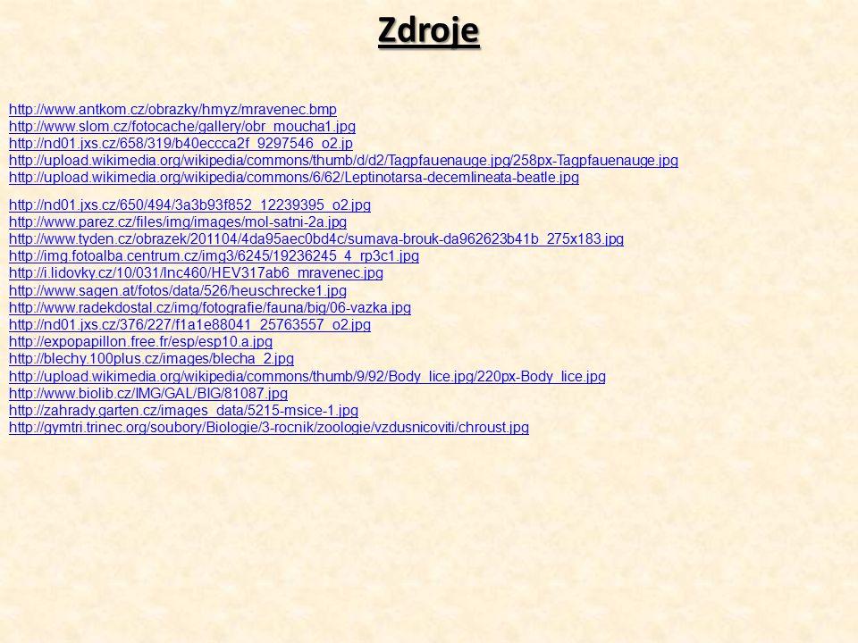 Zdroje http://www.antkom.cz/obrazky/hmyz/mravenec.bmp http://www.slom.cz/fotocache/gallery/obr_moucha1.jpg http://nd01.jxs.cz/658/319/b40eccca2f_92975