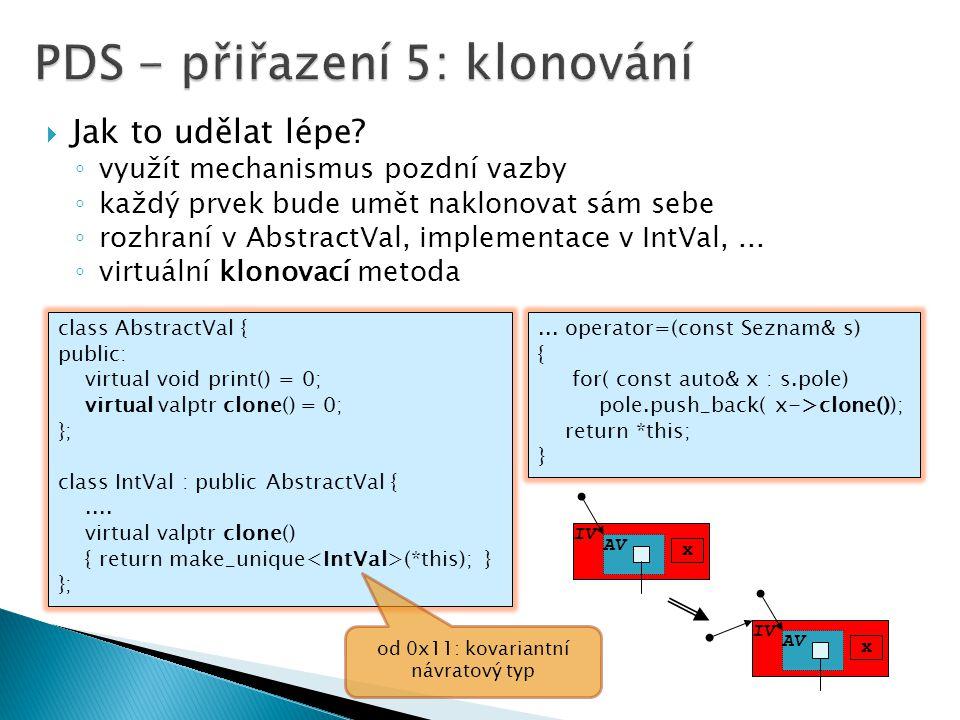  Jak to udělat lépe? ◦ využít mechanismus pozdní vazby ◦ každý prvek bude umět naklonovat sám sebe ◦ rozhraní v AbstractVal, implementace v IntVal,..