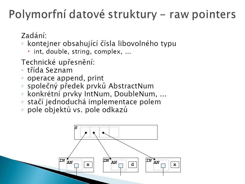 Zadání: ◦ kontejner obsahující čísla libovolného typu  int, double, string, complex,...