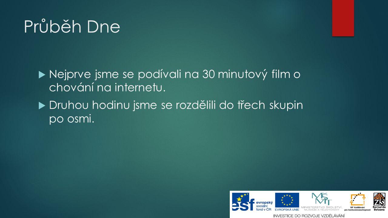 Průběh Dne  Nejprve jsme se podívali na 30 minutový film o chování na internetu.