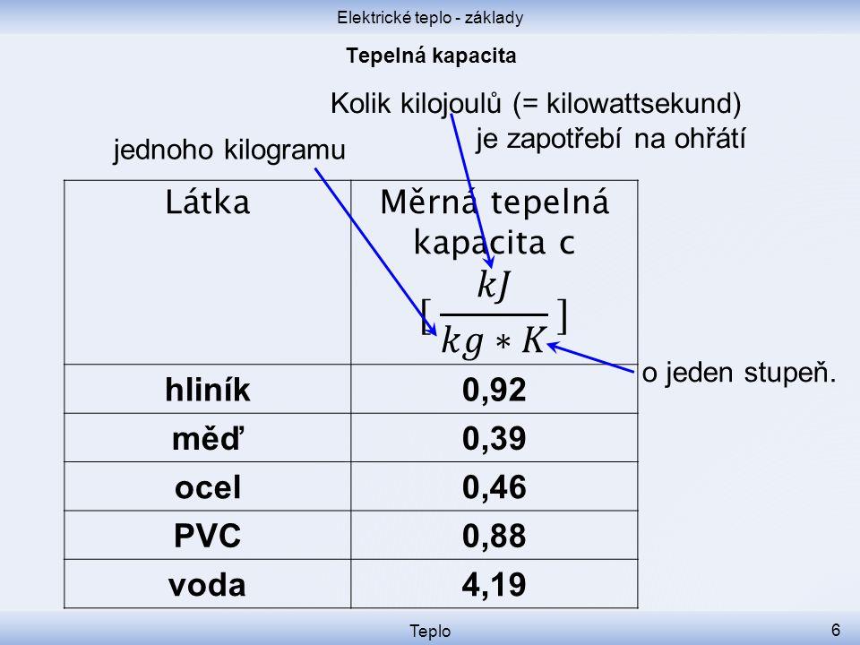 Elektrické teplo - základy Teplo 6 Kolik kilojoulů (= kilowattsekund) je zapotřebí na ohřátí Látka hliník0,92 měď0,39 ocel0,46 PVC0,88 voda4,19 o jeden stupeň.