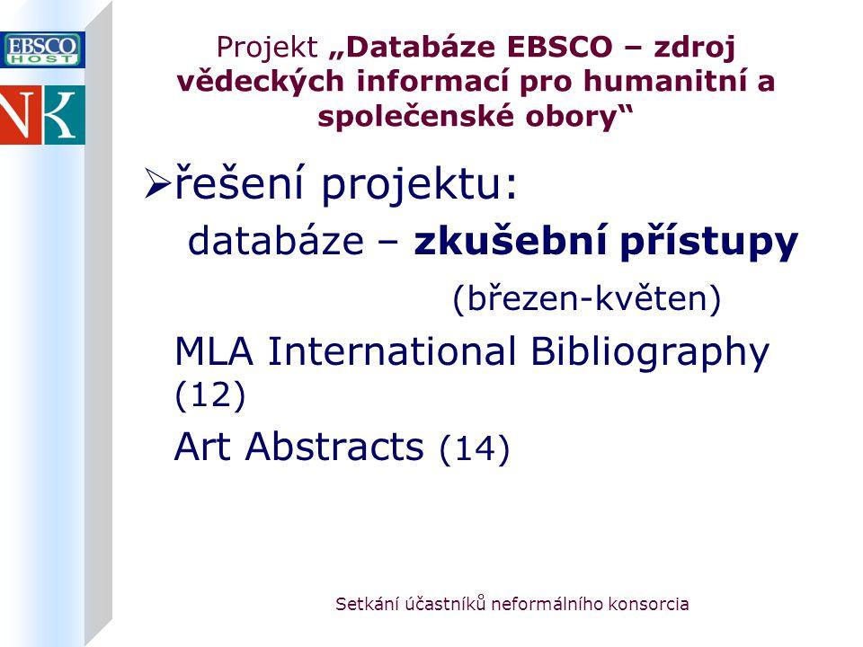 """Setkání účastníků neformálního konsorcia Projekt """"Databáze EBSCO – zdroj vědeckých informací pro humanitní a společenské obory  řešení projektu: databáze – zkušební přístupy (březen-květen) MLA International Bibliography (12) Art Abstracts (14)"""