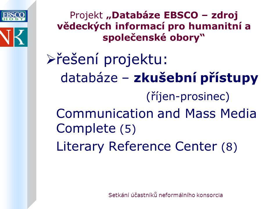 """Setkání účastníků neformálního konsorcia Projekt """"Databáze EBSCO – zdroj vědeckých informací pro humanitní a společenské obory  řešení projektu: databáze – zkušební přístupy (říjen-prosinec) Communication and Mass Media Complete (5) Literary Reference Center (8)"""