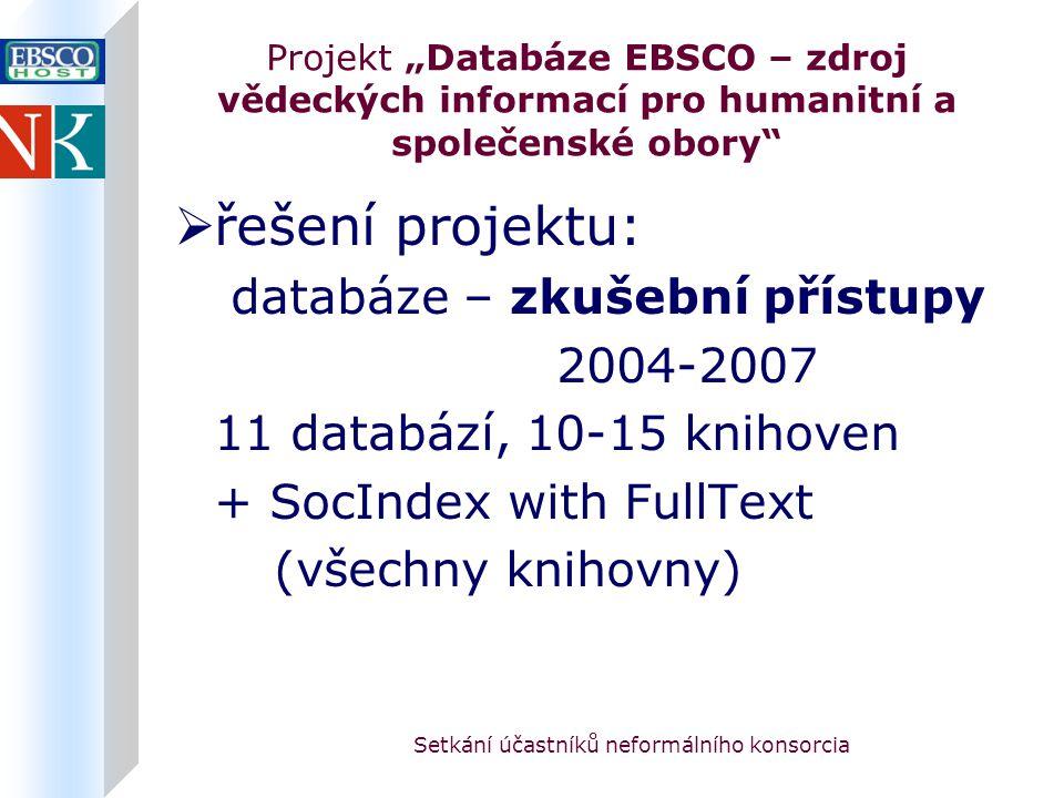 """Setkání účastníků neformálního konsorcia Projekt """"Databáze EBSCO – zdroj vědeckých informací pro humanitní a společenské obory  řešení projektu: databáze – zkušební přístupy 2004-2007 11 databází, 10-15 knihoven + SocIndex with FullText (všechny knihovny)"""