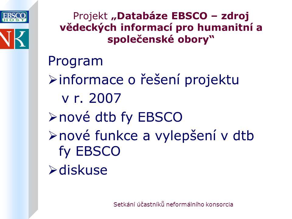 """Setkání účastníků neformálního konsorcia Projekt """"Databáze EBSCO – zdroj vědeckých informací pro humanitní a společenské obory Program  informace o řešení projektu v r."""