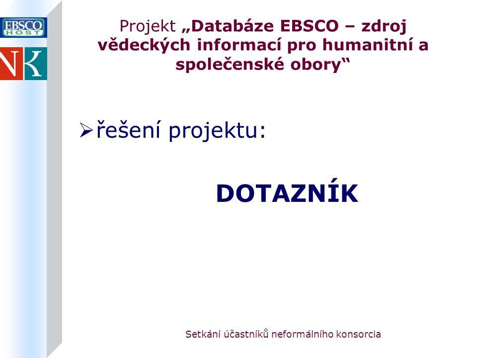 """Setkání účastníků neformálního konsorcia Projekt """"Databáze EBSCO – zdroj vědeckých informací pro humanitní a společenské obory  řešení projektu: DOTAZNÍK"""