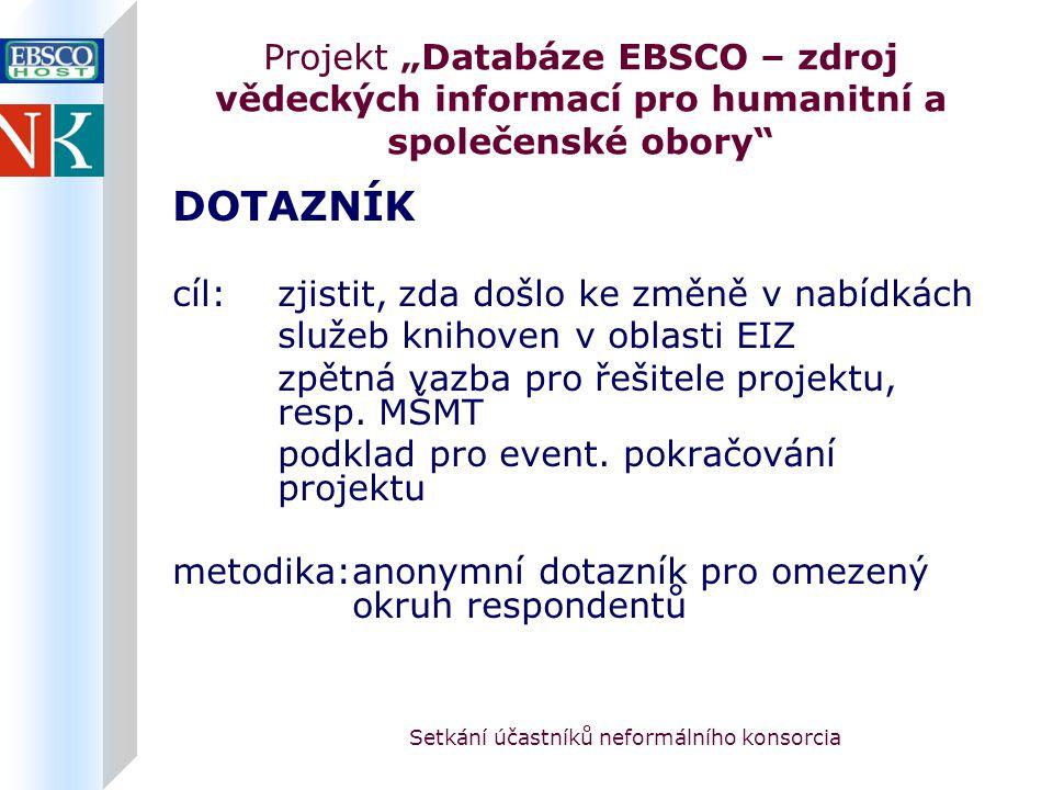 """Setkání účastníků neformálního konsorcia Projekt """"Databáze EBSCO – zdroj vědeckých informací pro humanitní a společenské obory DOTAZNÍK cíl:zjistit, zda došlo ke změně v nabídkách služeb knihoven v oblasti EIZ zpětná vazba pro řešitele projektu, resp."""