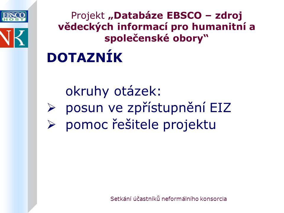 """Setkání účastníků neformálního konsorcia Projekt """"Databáze EBSCO – zdroj vědeckých informací pro humanitní a společenské obory DOTAZNÍK okruhy otázek:  posun ve zpřístupnění EIZ  pomoc řešitele projektu"""