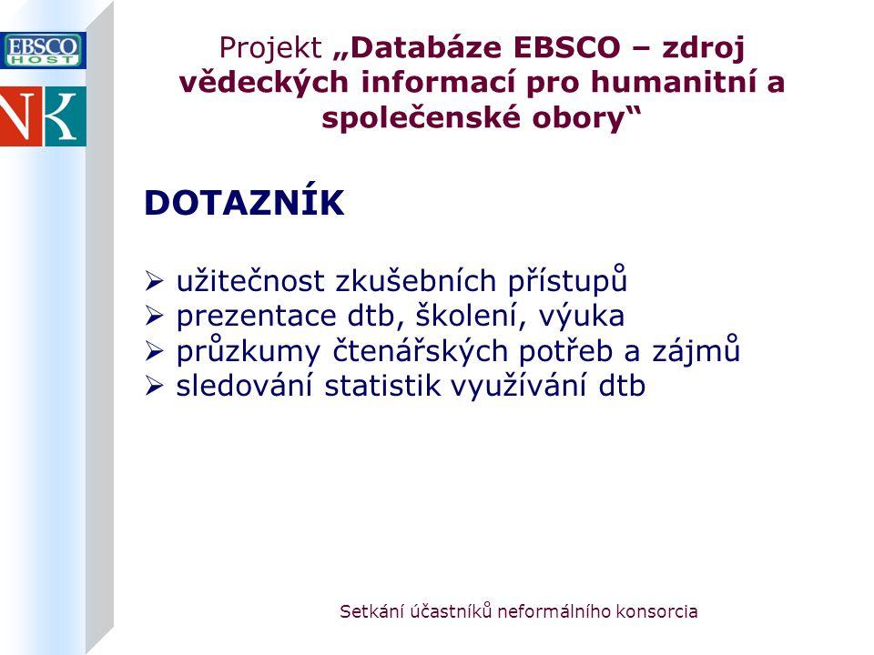 """Setkání účastníků neformálního konsorcia Projekt """"Databáze EBSCO – zdroj vědeckých informací pro humanitní a společenské obory DOTAZNÍK  užitečnost zkušebních přístupů  prezentace dtb, školení, výuka  průzkumy čtenářských potřeb a zájmů  sledování statistik využívání dtb"""