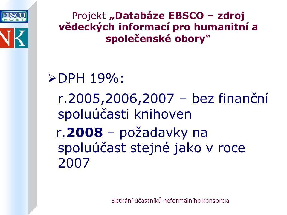 """Setkání účastníků neformálního konsorcia Projekt """"Databáze EBSCO – zdroj vědeckých informací pro humanitní a společenské obory  DPH 19%: r.2005,2006,2007 – bez finanční spoluúčasti knihoven r.2008 – požadavky na spoluúčast stejné jako v roce 2007"""