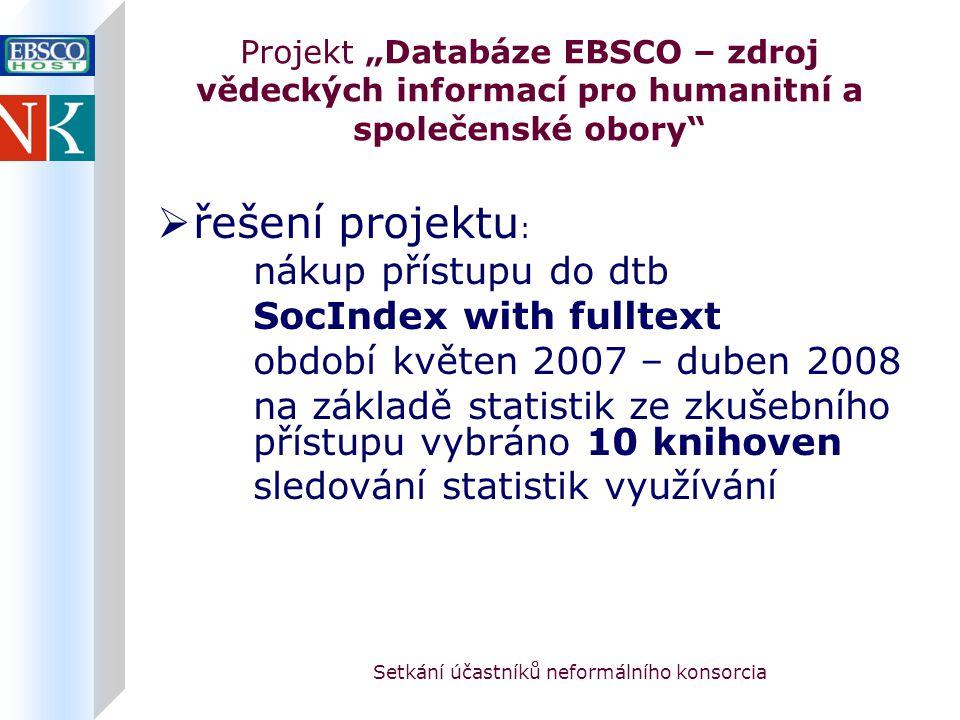 """Setkání účastníků neformálního konsorcia Projekt """"Databáze EBSCO – zdroj vědeckých informací pro humanitní a společenské obory  řešení projektu : nákup přístupu do dtb SocIndex with fulltext období květen 2007 – duben 2008 na základě statistik ze zkušebního přístupu vybráno 10 knihoven sledování statistik využívání"""