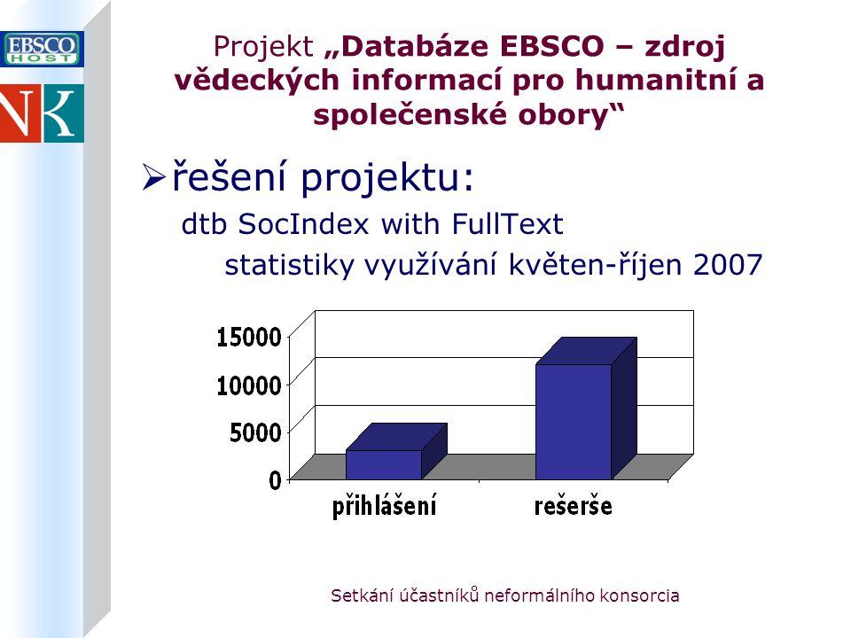 """Setkání účastníků neformálního konsorcia Projekt """"Databáze EBSCO – zdroj vědeckých informací pro humanitní a společenské obory  řešení projektu: dtb SocIndex with FullText statistiky využívání květen-říjen 2007"""
