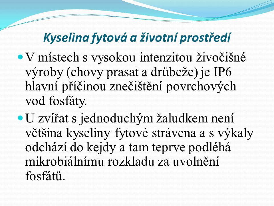 Kyselina fytová a životní prostředí V místech s vysokou intenzitou živočišné výroby (chovy prasat a drůbeže) je IP6 hlavní příčinou znečištění povrchových vod fosfáty.