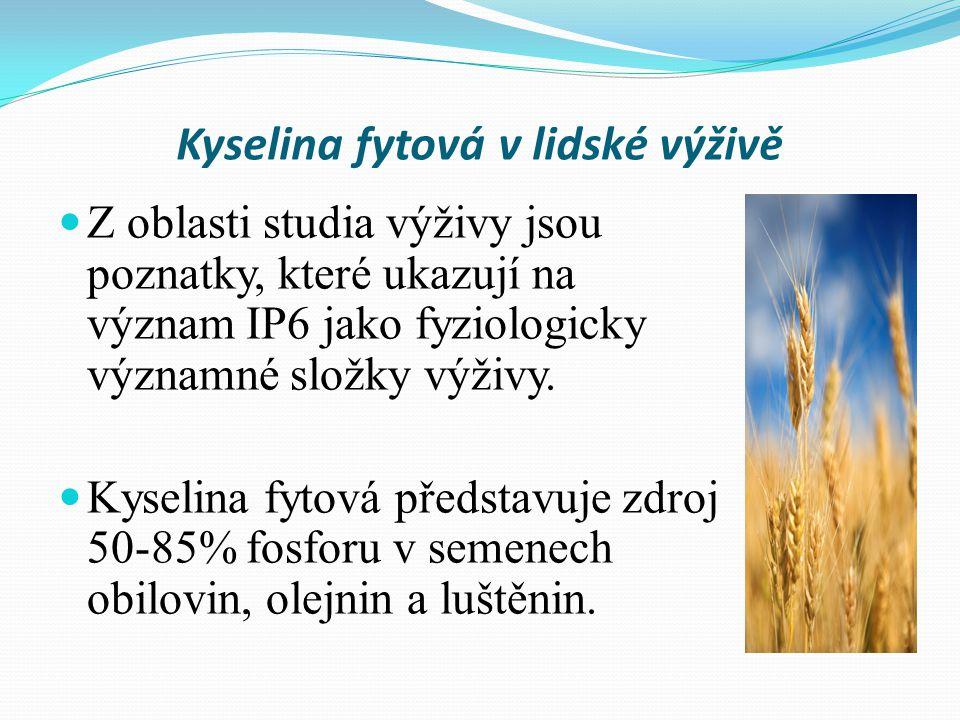 Kyselina fytová v lidské výživě Z oblasti studia výživy jsou poznatky, které ukazují na význam IP6 jako fyziologicky významné složky výživy.