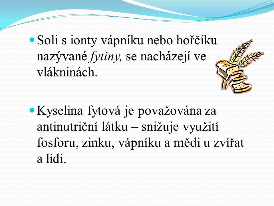 Soli s ionty vápníku nebo hořčíku nazývané fytiny, se nacházejí ve vlákninách.