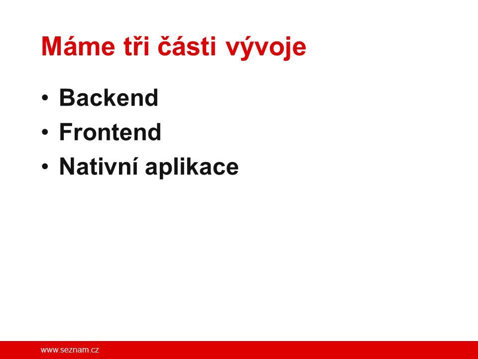 www.seznam.cz Máme tři části vývoje Backend Frontend Nativní aplikace