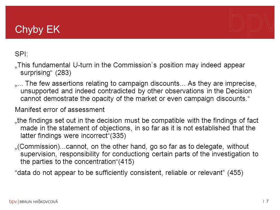 l 6l 6 Současná právní úprava rozhodnutí SPI ruší rozhodnutí Komise o nepovolení fúze stanoví kritéria pro posouzení existence/vzniku kolektivního dominantního postavení: -trh musí být dostatečně transparentní pro všechny členy oligopolu, aby mohli snadno zjistit tržní chování ostatních a přizpůsobit se mu (transparency) -musí existovat účinný mechanismus sankčních (deterrent mechanisms) prostředků/odrazovacích mechanismů, který odrazuje od odchýlení se od společného postupu na trhu a zajišťuje stabilitu konkludentní koordinace chování na trhu, -tato struktura a společná strategie odolá tržnímu chování současných a potenciálních soutěžitelů, určitá trvalost v čase