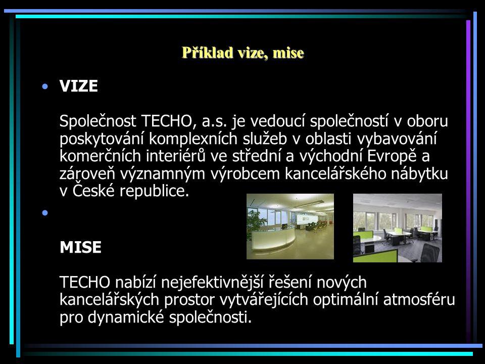 Příklad vize, mise VIZE Společnost TECHO, a.s. je vedoucí společností v oboru poskytování komplexních služeb v oblasti vybavování komerčních interiérů