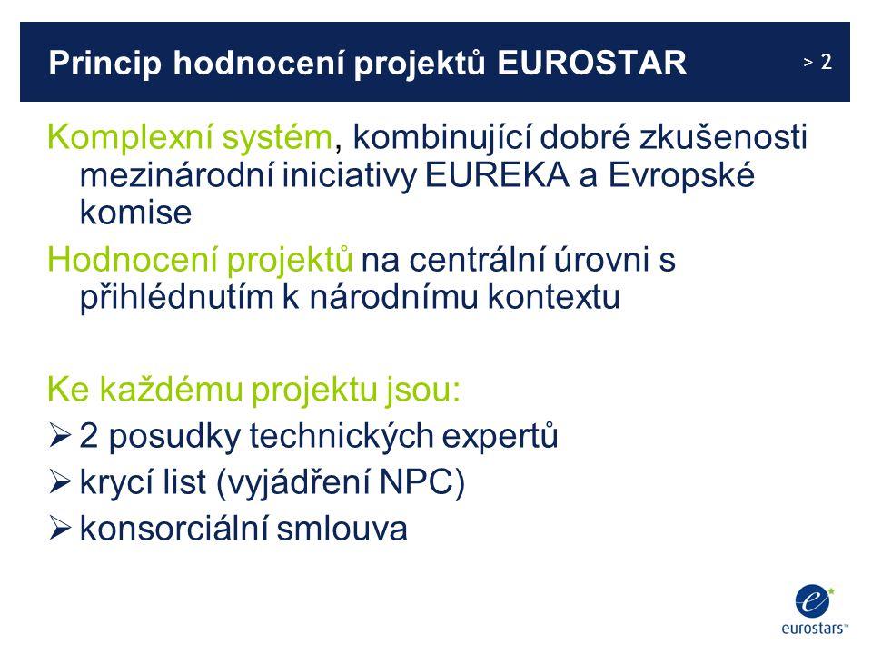 > 2 Princip hodnocení projektů EUROSTAR Komplexní systém, kombinující dobré zkušenosti mezinárodní iniciativy EUREKA a Evropské komise Hodnocení projektů na centrální úrovni s přihlédnutím k národnímu kontextu Ke každému projektu jsou:  2 posudky technických expertů  krycí list (vyjádření NPC)  konsorciální smlouva