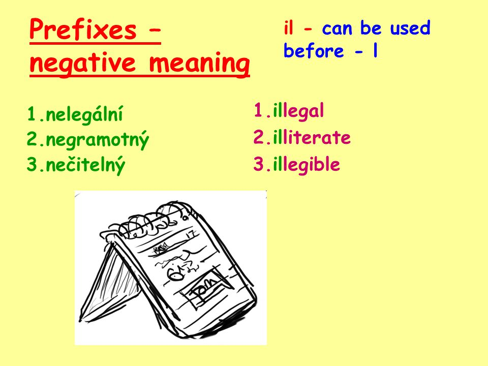 Prefixes – negative meaning 1.nelegální 2.negramotný 3.nečitelný 1.illegal il - can be used before - l 2.illiterate 3.illegible