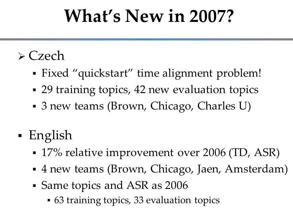 What's New in 2007.  Czech  Fixed quickstart time alignment problem.