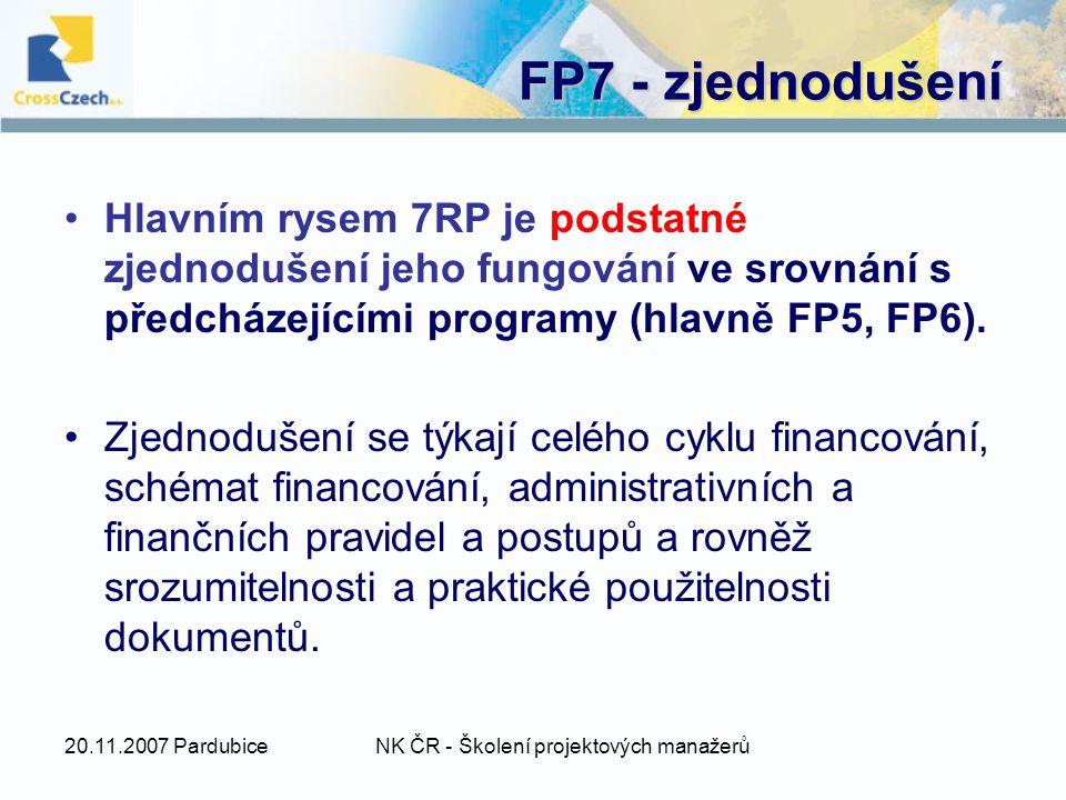 20.11.2007 PardubiceNK ČR - Školení projektových manažerů FP7 - zjednodušení Hlavním rysem 7RP je podstatné zjednodušení jeho fungování ve srovnání s předcházejícími programy (hlavně FP5, FP6).