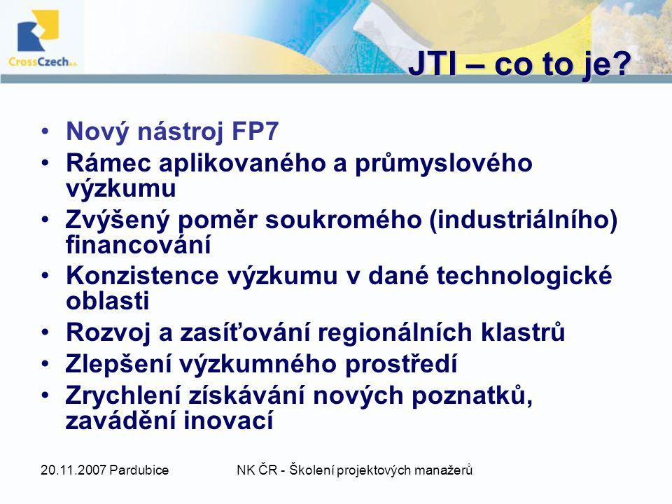 20.11.2007 PardubiceNK ČR - Školení projektových manažerů JTI – co to je.
