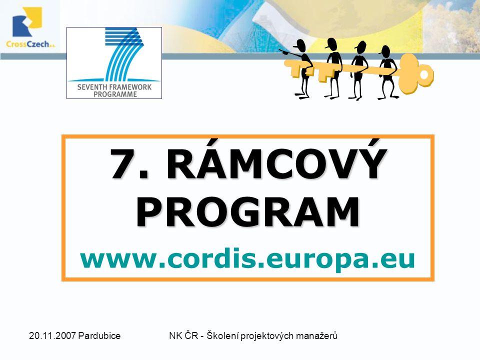 20.11.2007 PardubiceNK ČR - Školení projektových manažerů 7. RÁMCOVÝ PROGRAM www.cordis.europa.eu