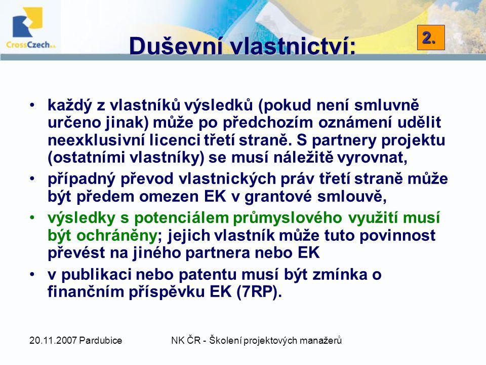 20.11.2007 PardubiceNK ČR - Školení projektových manažerů Duševní vlastnictví: každý z vlastníků výsledků (pokud není smluvně určeno jinak) může po předchozím oznámení udělit neexklusivní licenci třetí straně.