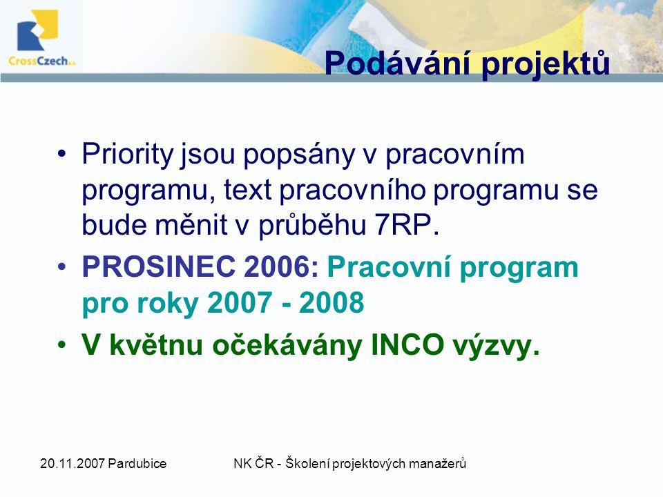20.11.2007 PardubiceNK ČR - Školení projektových manažerů Podávání projektů Priority jsou popsány v pracovním programu, text pracovního programu se bude měnit v průběhu 7RP.