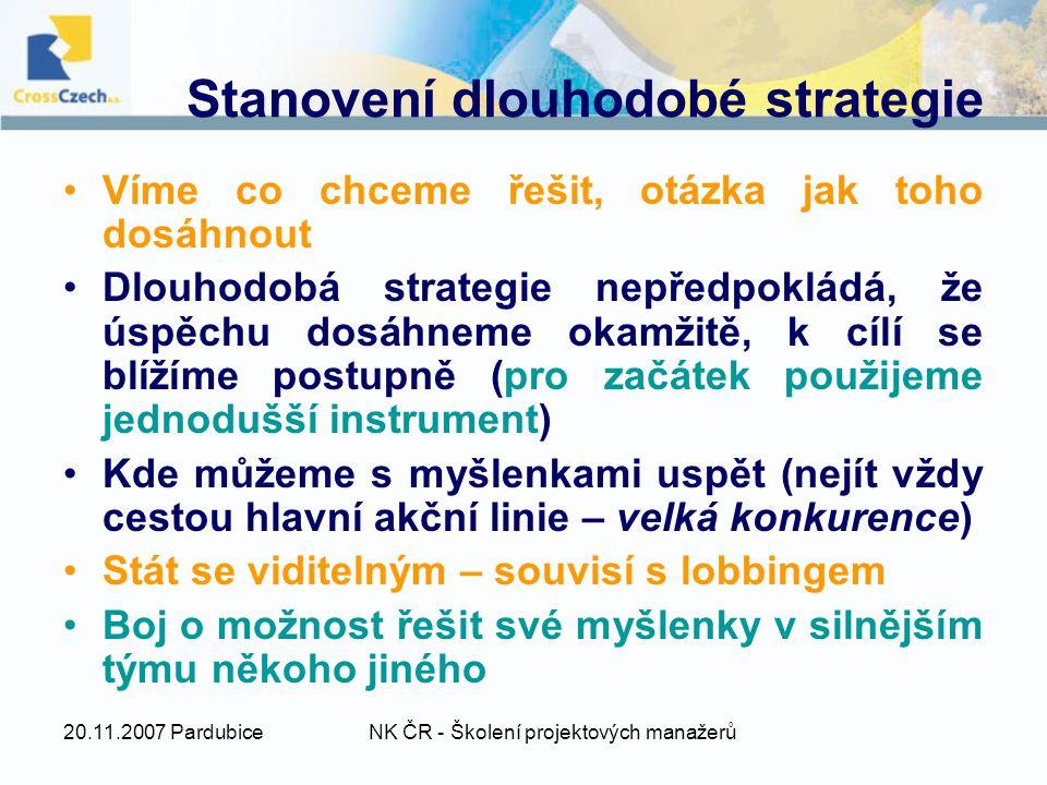 20.11.2007 PardubiceNK ČR - Školení projektových manažerů Stanovení dlouhodobé strategie Víme co chceme řešit, otázka jak toho dosáhnout Dlouhodobá strategie nepředpokládá, že úspěchu dosáhneme okamžitě, k cílí se blížíme postupně (pro začátek použijeme jednodušší instrument) Kde můžeme s myšlenkami uspět (nejít vždy cestou hlavní akční linie – velká konkurence) Stát se viditelným – souvisí s lobbingem Boj o možnost řešit své myšlenky v silnějším týmu někoho jiného