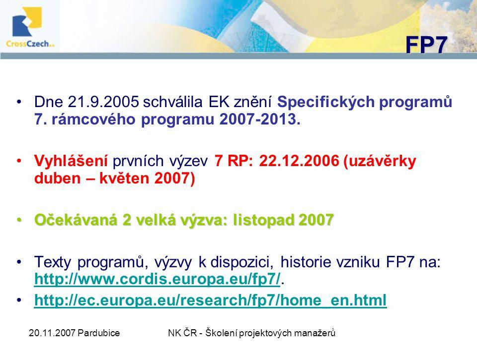 20.11.2007 PardubiceNK ČR - Školení projektových manažerů FP7 Dne 21.9.2005 schválila EK znění Specifických programů 7.