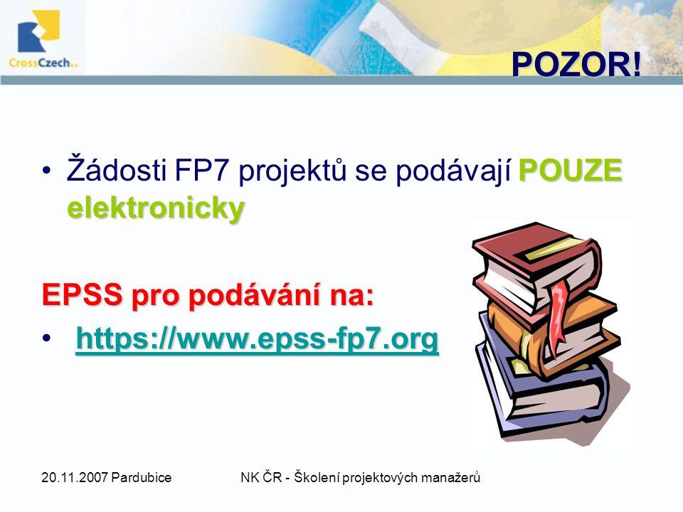 20.11.2007 PardubiceNK ČR - Školení projektových manažerů POZOR.