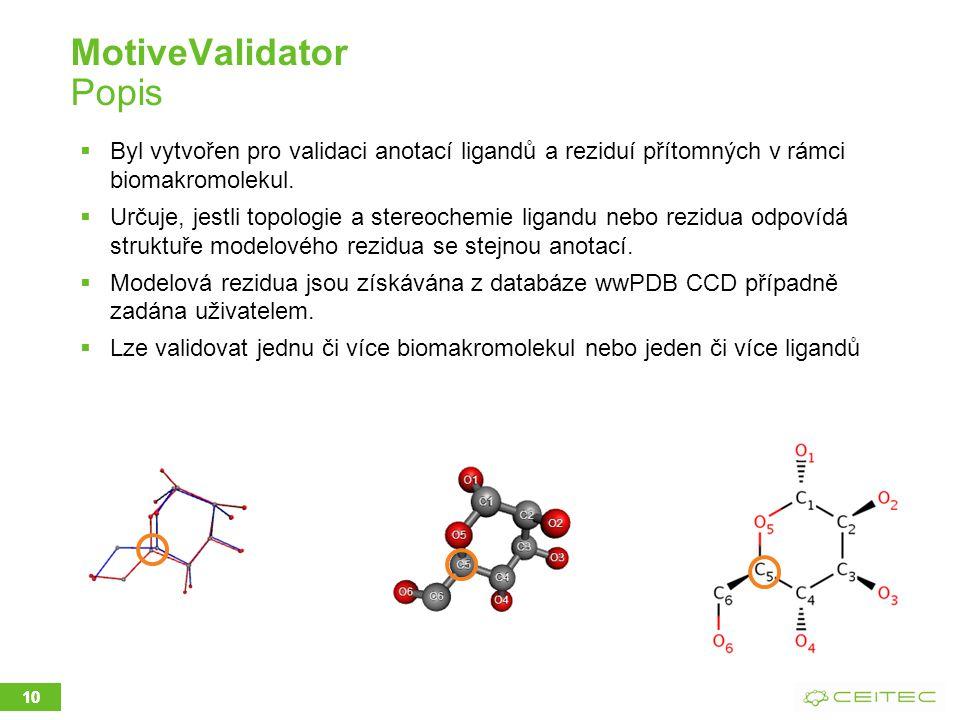 MotiveValidator Popis  Byl vytvořen pro validaci anotací ligandů a reziduí přítomných v rámci biomakromolekul.  Určuje, jestli topologie a stereoche