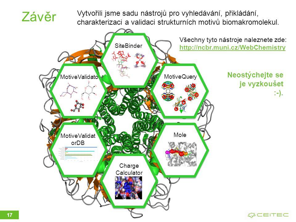 Závěr 17 SiteBinder MotiveQuery Mole MotiveValidato r MotiveValidat orDB Charge Calculator Vytvořili jsme sadu nástrojů pro vyhledávání, přikládání, charakterizaci a validaci strukturních motivů biomakromolekul.