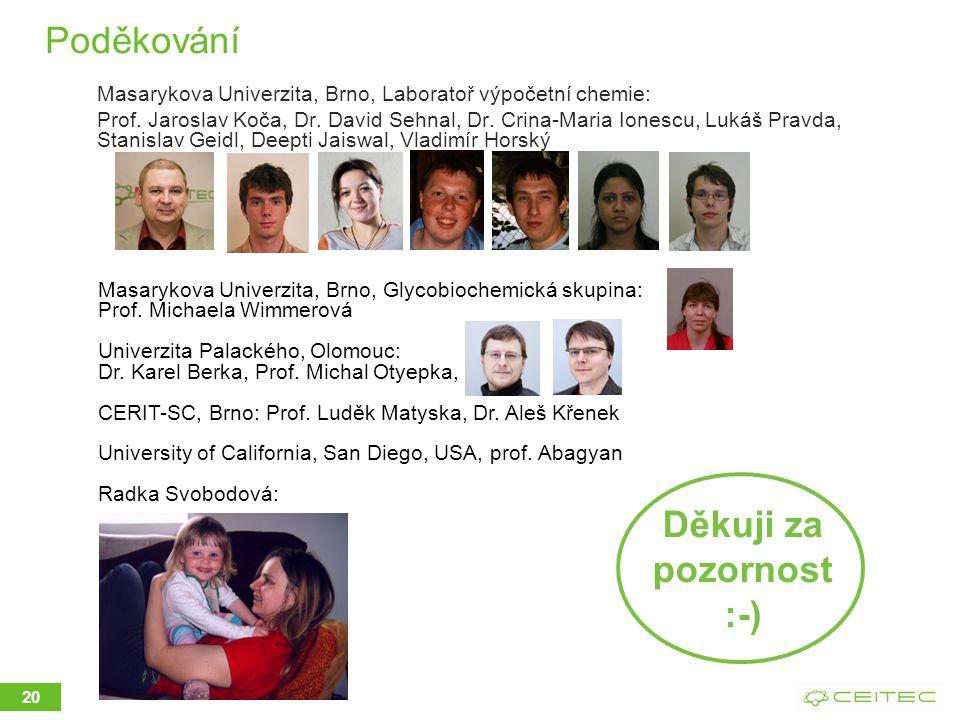 Poděkování Masarykova Univerzita, Brno, Laboratoř výpočetní chemie: Prof.