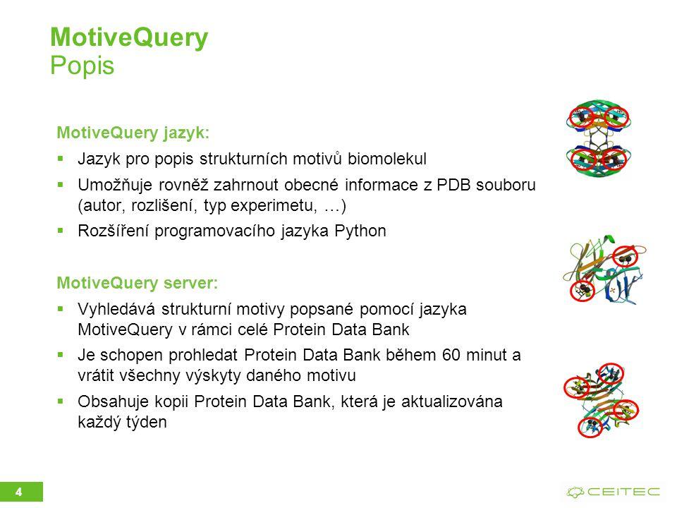 MotiveQuery Popis MotiveQuery jazyk:  Jazyk pro popis strukturních motivů biomolekul  Umožňuje rovněž zahrnout obecné informace z PDB souboru (autor