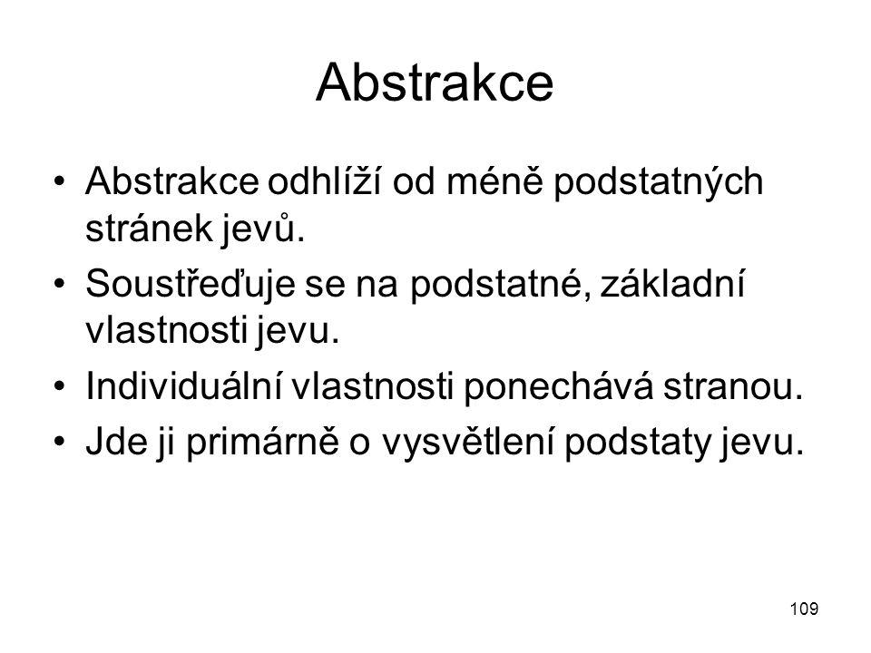 109 Abstrakce Abstrakce odhlíží od méně podstatných stránek jevů. Soustřeďuje se na podstatné, základní vlastnosti jevu. Individuální vlastnosti ponec