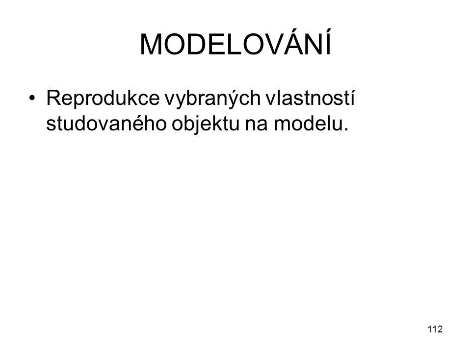 112 MODELOVÁNÍ Reprodukce vybraných vlastností studovaného objektu na modelu.