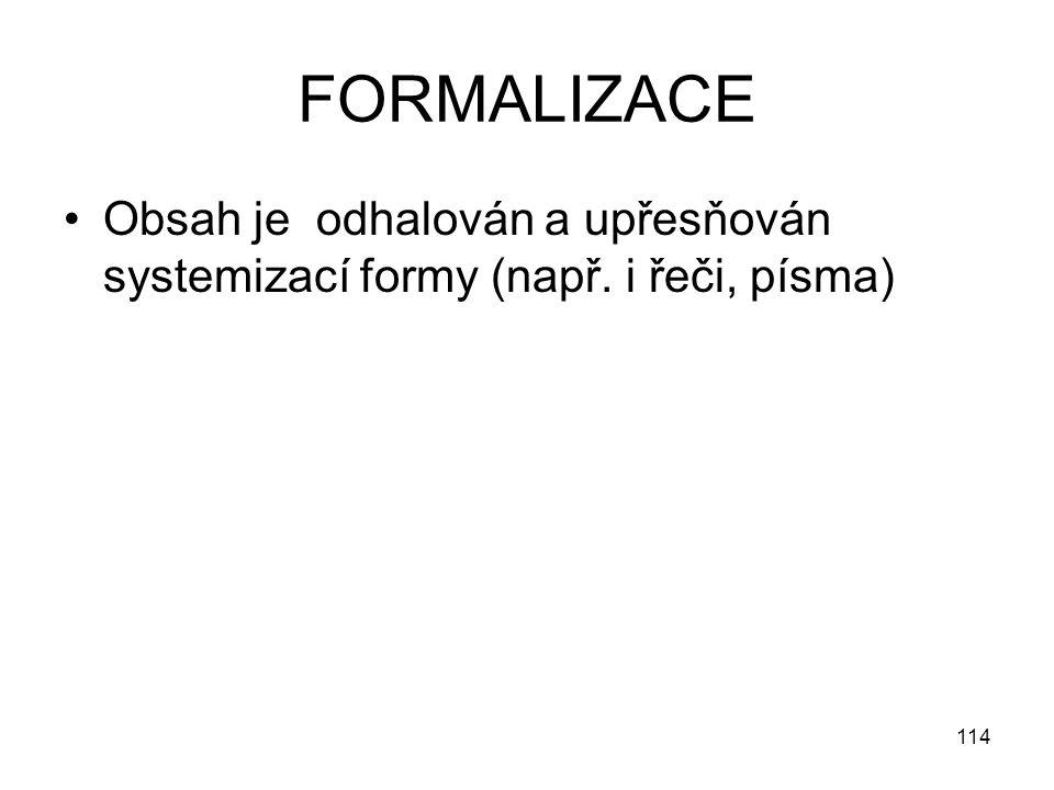 114 FORMALIZACE Obsah je odhalován a upřesňován systemizací formy (např. i řeči, písma)