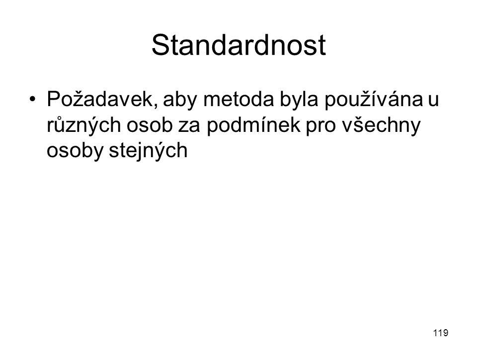 119 Standardnost Požadavek, aby metoda byla používána u různých osob za podmínek pro všechny osoby stejných