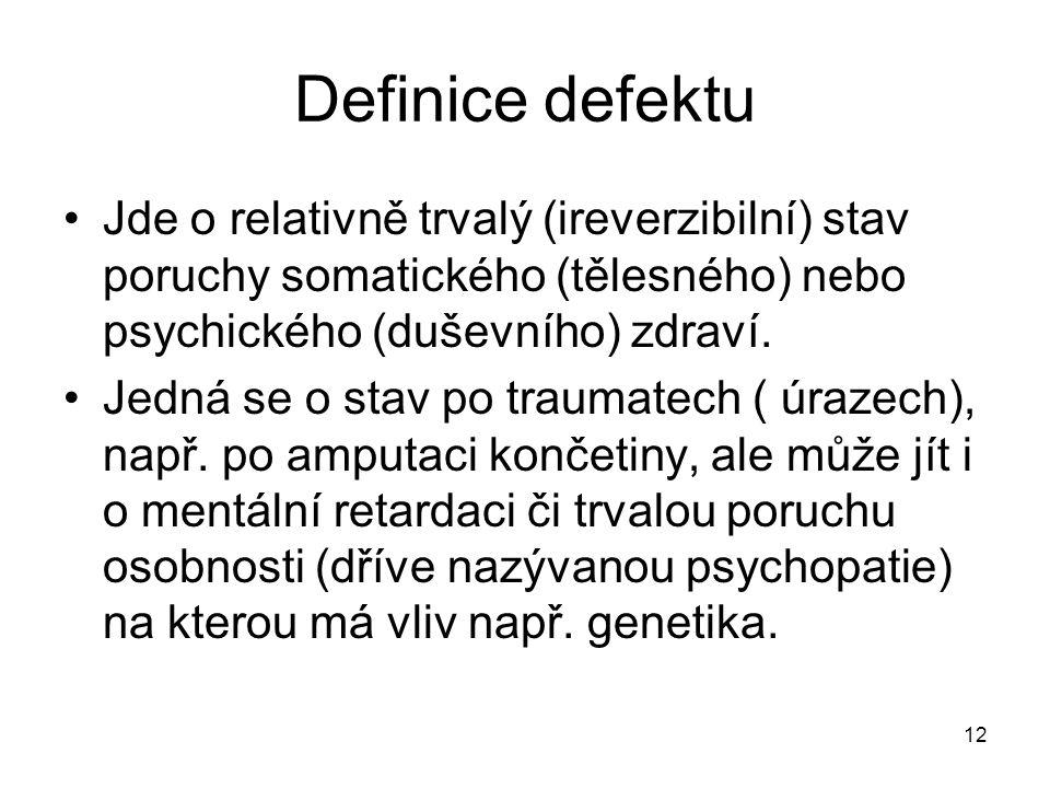 12 Definice defektu Jde o relativně trvalý (ireverzibilní) stav poruchy somatického (tělesného) nebo psychického (duševního) zdraví. Jedná se o stav p