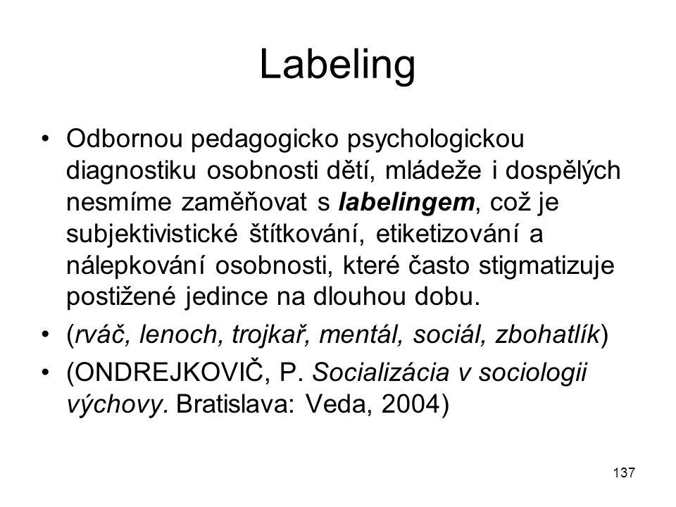 137 Labeling Odbornou pedagogicko psychologickou diagnostiku osobnosti dětí, mládeže i dospělých nesmíme zaměňovat s labelingem, což je subjektivistic